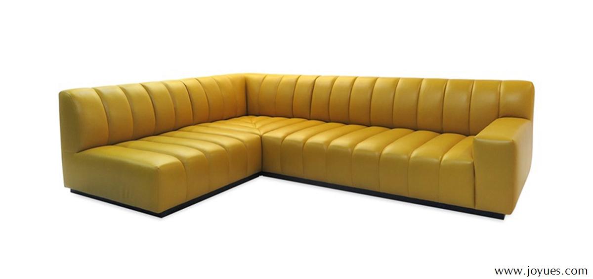 Red Leather Corner Restaurant Seat